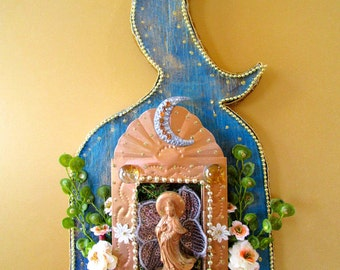 Quan Yin May you dwell in compassion blessing moon shrine temple mixed media sacred art