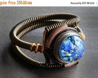 SALE 25% OFF - Steampunk Ring, Blue Harlequin Glass ,Copper and Antique Bronze ring band, Trending now