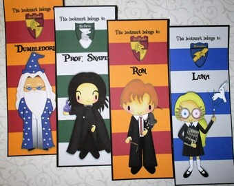 WIZARD  Bookmarks - House Crests  - Set of 10 Laminated Bookmarks - Personalized - Stocking Stuffers -  HP 12356