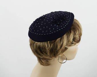 Vintage 1950s Hat Navy Blue Beaded Beret by Parke Layne