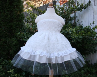 Christmas Dress Girl/Holiday Dress/Ivory Dress/3T Dress/Flower Girl Dress/Tulle Dress/3T Girls Clothing/Girls Dresses/Ivory Lace Dress/Fur