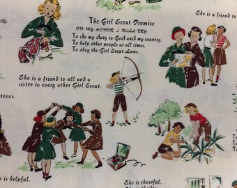 60s Vintage Girl Scout Fabric Piece
