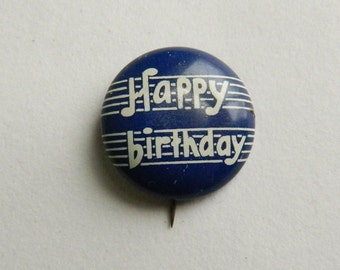Vintage Happy Birthday Pinback Button David Cook Publishing