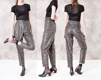 HIGH WAIST slacks pants trousers SNAKE print shimmery shiny Women fancy 80s print reptile vintage / Size 6 / waist 28 / better Stay together
