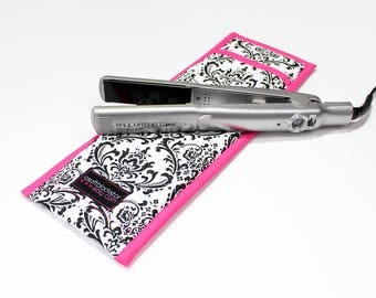 Flat Iron Case/Curling Iron Travel Cover, Damask Black/White with Hot Pink Trim - In Stock Ready To Ship