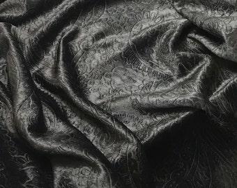 Black Paisley - EMBOSSED Velvet Fabric - 1 Yard