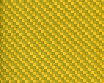 Westminster Vicki Payne Golden Yellow & Green Checks - Cotton Home Dec Fabric - fat 1/4 remnant