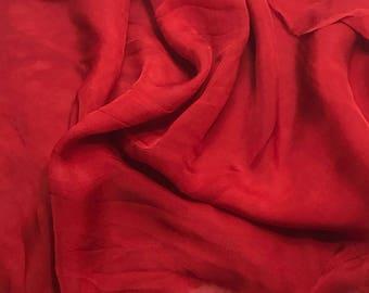 Hand Dyed SCARLET RED Soft Silk Organza Fabric - 1 Yard