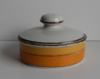 Stonehenge Midwinter Stoneware Bowl with Lid / Casserole Dish with Lid / Orange and Yellow Stripes