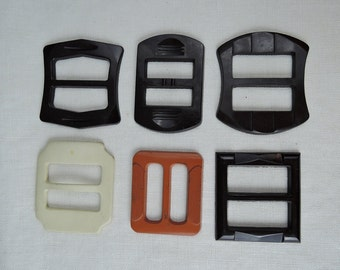 6 Vintage Plastic Buckles, Brown & Ivory Dress Belt Buckles 1940s 1950s Buckle Lot, Art Deco