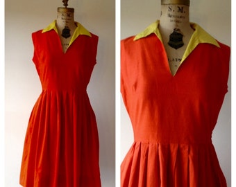 Chances are dress - 50's orange and lemon dress - 1950s house dress