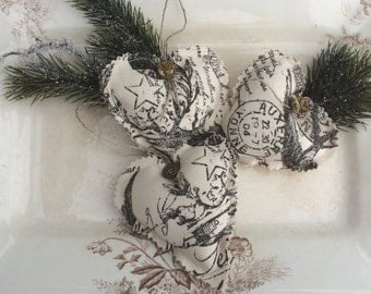 Dollar Days Heart ornaments sachets French text toile Christmas stocking stuffer