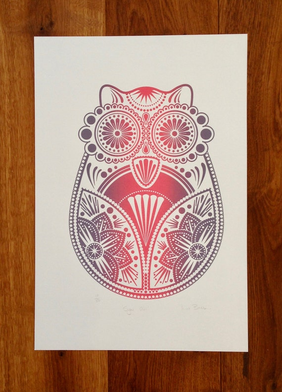 CLEARANCE SALE Up To 90% Off *** Screen Print - Sugar Owl - Original Limited Edition Handprinted in Pink & Purple ***
