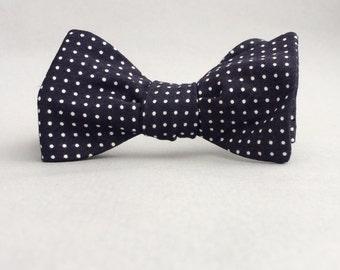 Black polka dot self tie bow tie //  mens freestyle bow tie //  black & white cinrsge fabric polka dot bow tie