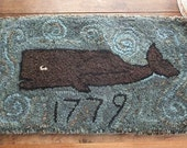 Primitive Hooked Rug - 1779 Whale