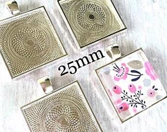 Bezels 20  1 inch Square Pendants Settings Sturdy Alloy 25mm Trays Settings Glass Tile Pendants