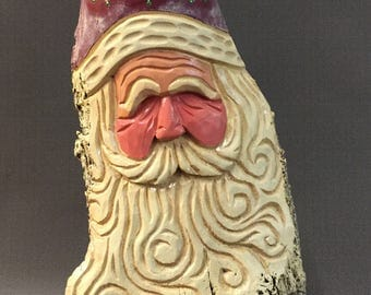 HAND CARVED original large Santa bust w/ curly beard from 100 year old Cottonwood Bark.