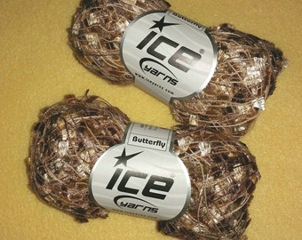 Variegated Golden Tan Butterfly Yarn by Ice Yarns, two skeins of shiny medium weight novelty yarn