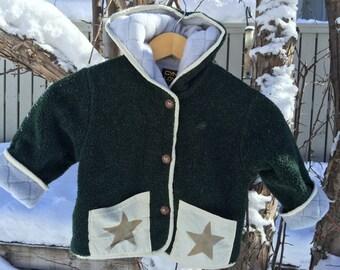Kids Fleece Hooded Star Coat Jacket Forest Green Polartec Polarfleece Custom Jacket Fully Lined On Sale!