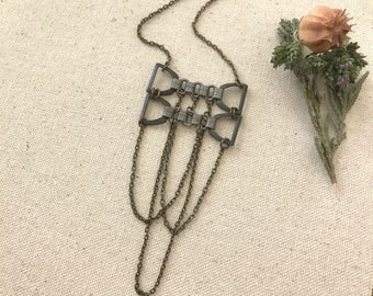 Gothic Necklace, Boho Chain Necklace, Steel Bowtie Necklace, Goth, Chain Jewelry, Bohemian Necklace, Antique Brass, Gifts for Her, Trendy