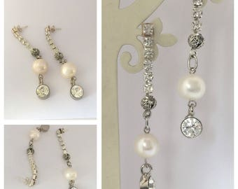 Brides Jewellery Earrings with 11mm Freshwater Pearl and Rhinestone Chain, Bridesmaids Gifts