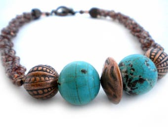 Handmade Street Style Turquoise and Copper Beaded Necklace