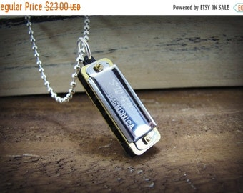 SALE Harmonica Necklace Working Miniature Musical Instrument Jewelry