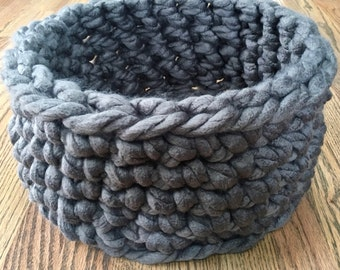 Cat Bed - Chunky Knit Cat Bed, Crochet cat bed or small dog bed - grey gray pet bed