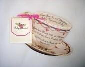 Teacup Invitation, High Tea Invitation, Tea Party Invitation  -- Customizable, Handmade