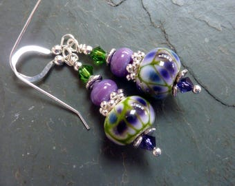 Purple Green Dainties, Handmade Lampwork, Sterling Silver Earwires, Drop Dangle