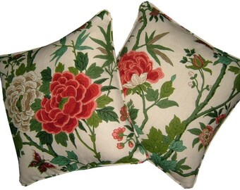 Pair GP & J Baker Canton Linen Cushion Covers