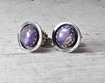 Purple Charoite stud Earrings Sterling Silver Posts Earrings 6mm stone Silversmith