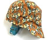 UB2 ORGANIC POINTS a tree leaf-y, triangle pointy, boyishly blue and orange double gauze baby BOY newsboy sun hat, The Urban Baby Bonnet