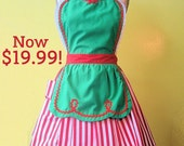 CHRISTMAS apron, womens apron, full apron, green with red stripes, Santas Helper, Elf apron, sale, gift, hostess gift, gift under 20 dollars