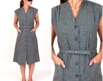 Vintage 1960s Gray Wool Sleeveless Dress with Matching Belt by Solo | Medium