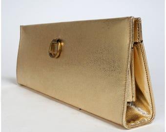 Vintage 1950s Sturdy Shiny Metallic Gold Purse Clutch