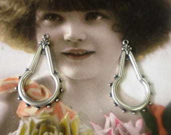 Sterling Silver Ox Plated Brass Earring Drops 114SOX x2