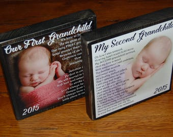 FIRST and SECOND Grandchild Poem Blocks- Set of 2 XL Personalized Photo Blocks- Custom made to order with poem quote or scripture