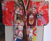 Wearable Fabric Collage  Folk Art - GEISHA PATCHWORK KIMONO Couture -Altered Antique & Vintage Linen - red mountain