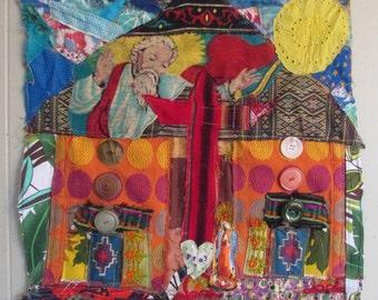 Santa Fe Catholic Church Altar  Fabric COLLAGE Wall Quilt  -Altered Upcycled Folk Art --Embroidery Applique myBonny