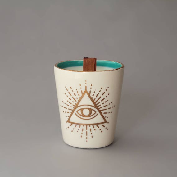 Handmade hand poured hand glazed illuminati candle