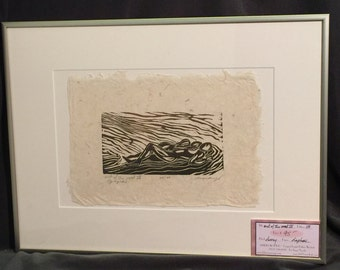 FRAMED 16x12 Original Woodcut Couple Reclined Classic Love Sweet Pose Surreal Earth Figures Deckled Edge Handmade Paper