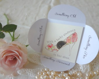 Silver Sixpence Wedding Gift Card Roses Modern Bride Roses Open Toe Heel Shoe  Something Old Something New - EnglishPreserves
