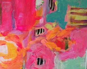 Modern, Aqua, Pink, black, abstract, expressionism, turquoise, yellow,