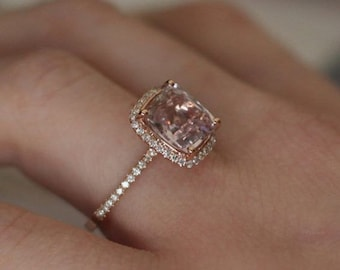 Peach Sapphire Engagement Ring 14k Rose Gold Diamond Ring Cushion Peach Champagne Sapphire 2.32ct
