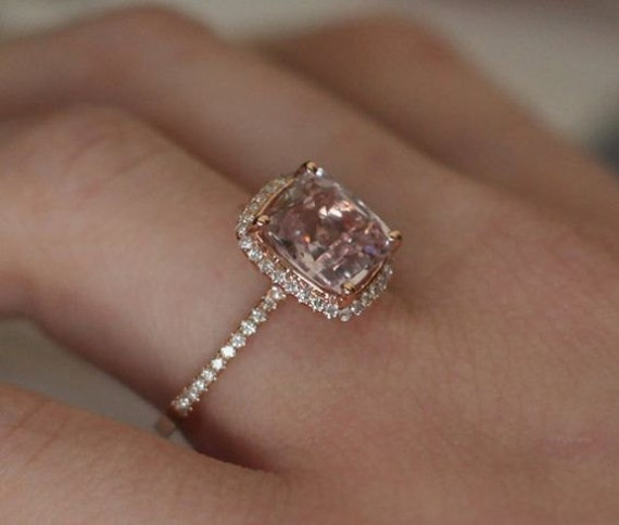 Peach Sapphire Engagement Ring 14k Rose Gold Diamond Ring Cushion Peach Champagne Sapphire 1.95ct