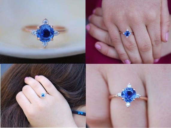 Blue sapphire ring. Round Blue sapphire engagement ring. Something blue. Rose gold ring. Anniversary ring. Mother's day gift Eidelprecious