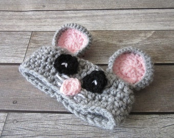 Baby Girl Ear Warmer, Crochet baby Headwrap, Newborn Ear Warmer, Mouse Ear Warmer, Crochet Headband, Baby Girl Gift, Animal Ear Warmers