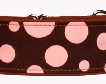 """Brown and Pink 2"""" Martingale Collar-"""