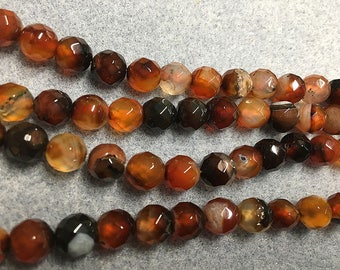 Agate Orange Black Faceted Round Gemstone Beads 8mm Approx 24 Beads Per 8 Inch Strand